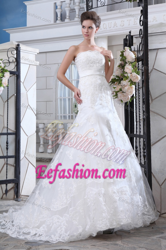 2013 Best Seller Mermaid Strapless Court Train Lace Bridal Dress with Belt