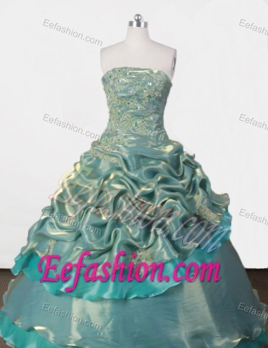 Elegant Ball Gown Strapless Beading Quinceanera Dress with Ruffled Layers 2015
