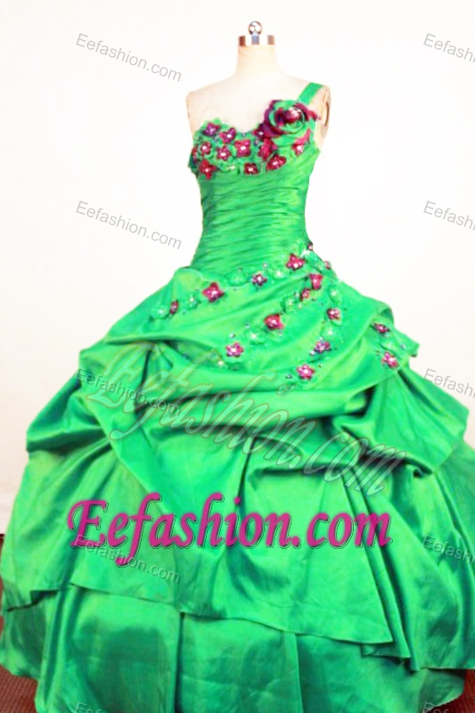 Perfect Green One Shoulder Sweet Sixteen Quinceanera Dresses with Red Flowers