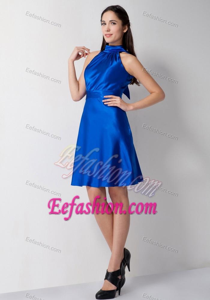 dresses high neck knee length royal blue ruched formal dresses for