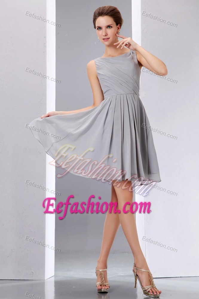Bateau Straps Mini-length Gray Ruched Chiffon Dama Dress for Quinceanera