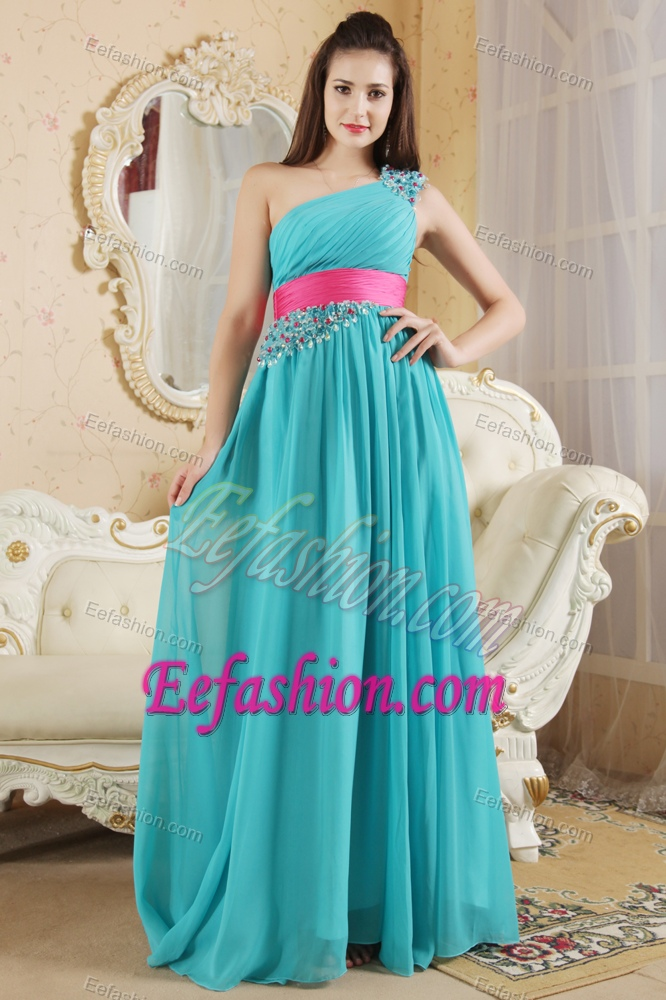 Teal One Shoulder Brush Train Ruched Beaded Dama Dresses with Pink Sash
