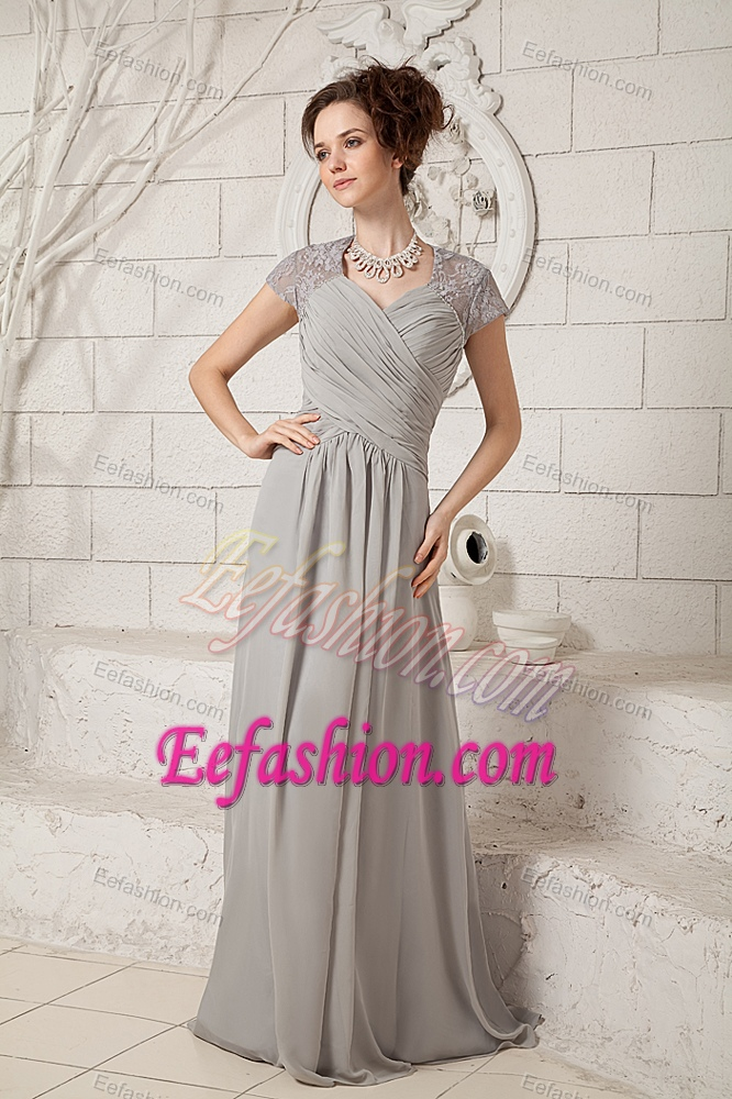 Straps Long Gray Ruched Chiffon and Lace Dama Dresses for Quince