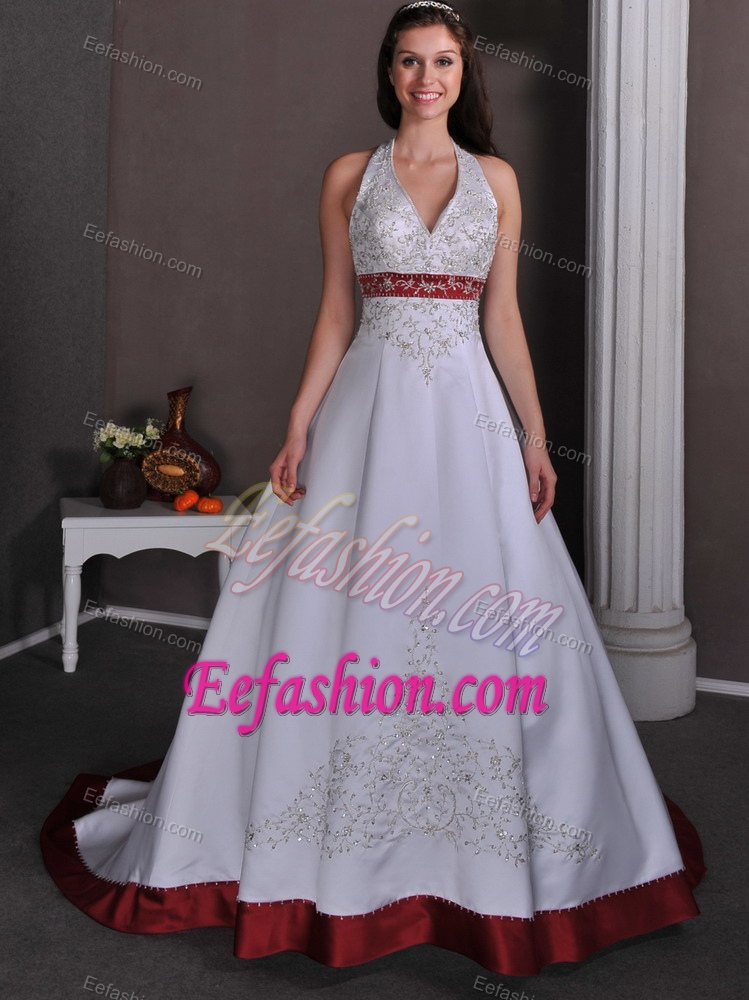 Halter V-neck Court Train Wine Red and White Wedding Dress with Appliques