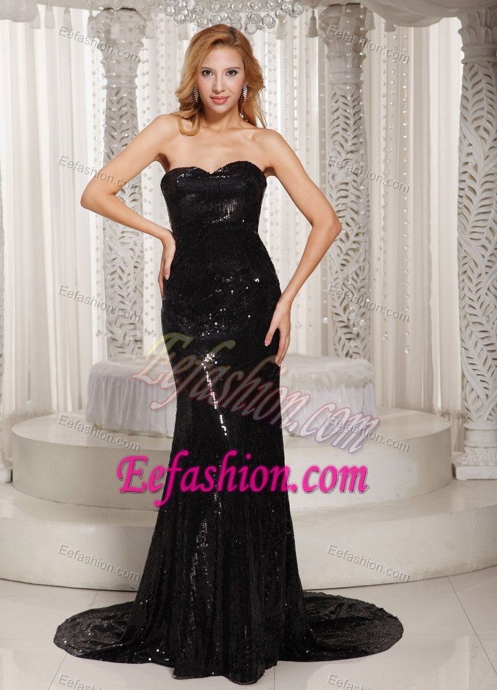 Sheath Sweetheart Evening Dress Patterns with Court Train on Promotion