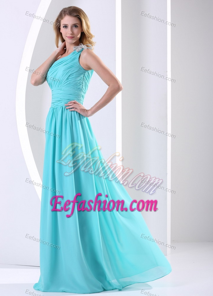 Shoulder Ruched Elegant Evening Dresses for Women in Aqua Blue
