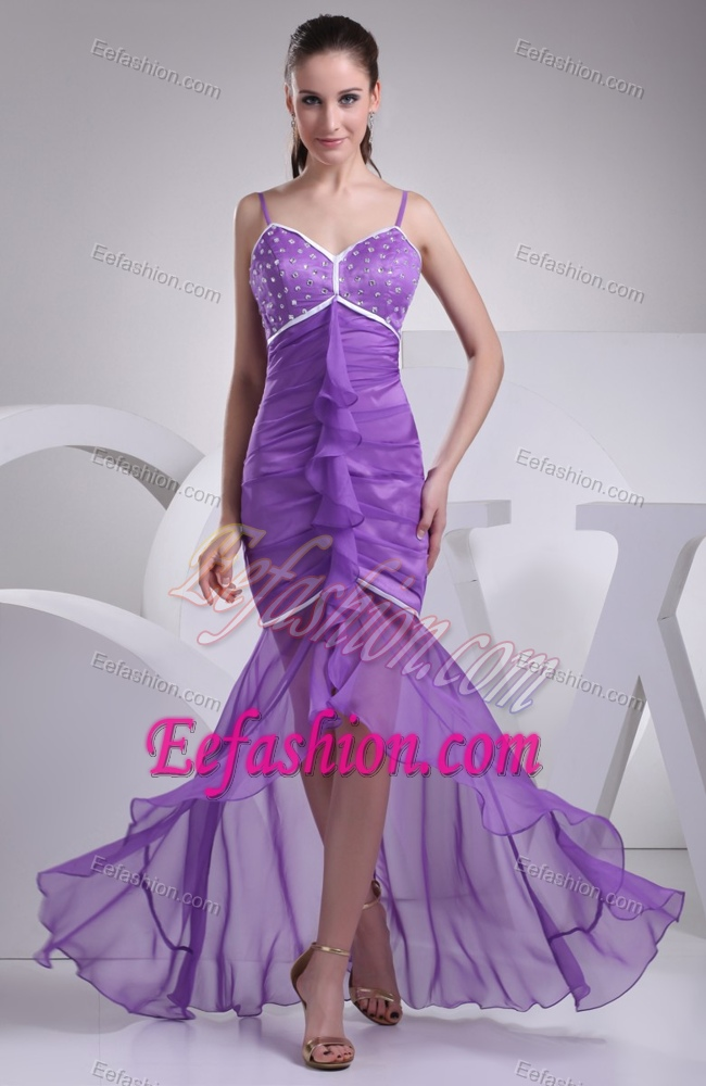 Discount Spaghetti Straps High Low Evening Dress Patterns with Beading
