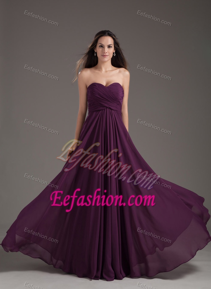 Empire Dark Purple Ruched Long Elegant Evening Dresses