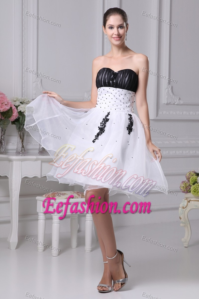 And White Organza Sweetheart Beaded Semi Formal Evening Dress For Girls