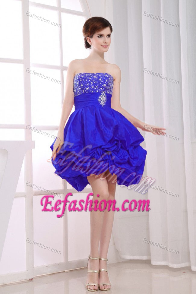 Pretty Beaded A-line Strapless Royal Blue Prom Dresses with Pick-ups for Cheap