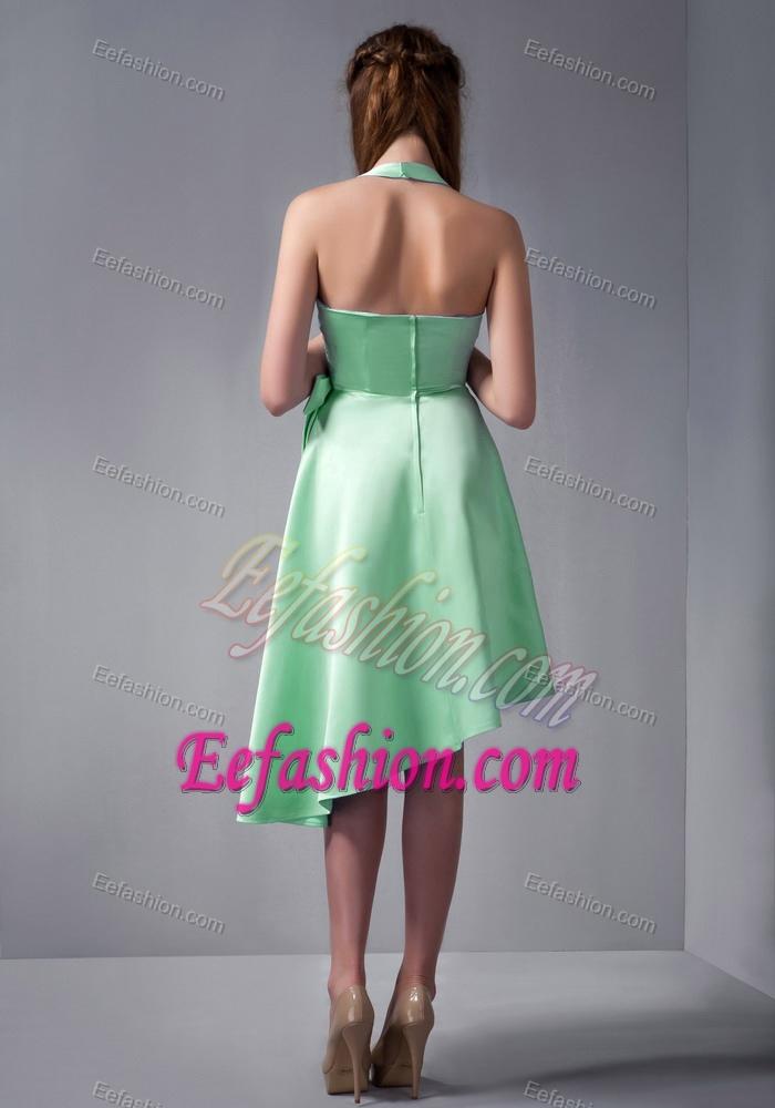 Beautiful Apple Green A Line Halter Top Asymmetrical