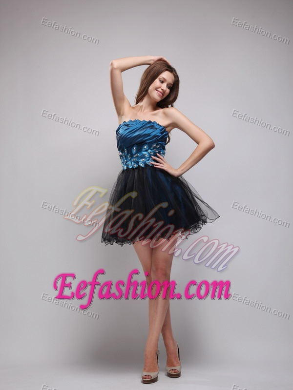Navy Blue and Black Mini-length and Organza Beaded Prom Party Dresses