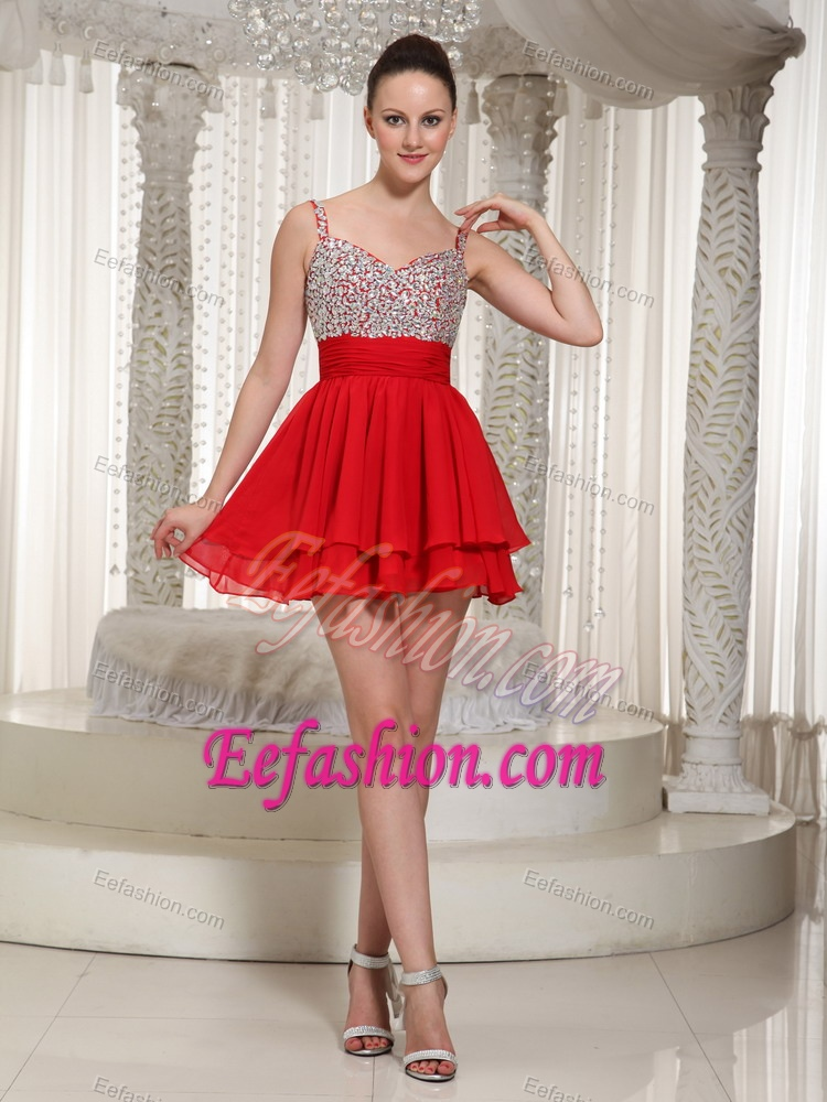 New Red Chiffon Beaded Mini-length Prom Cocktail Dress with Spaghetti Straps
