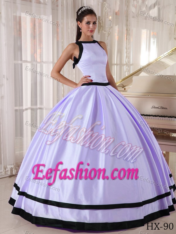 Lilac and Black Bateau Satin Dress for Quinceanera in 2014 for Custom Made
