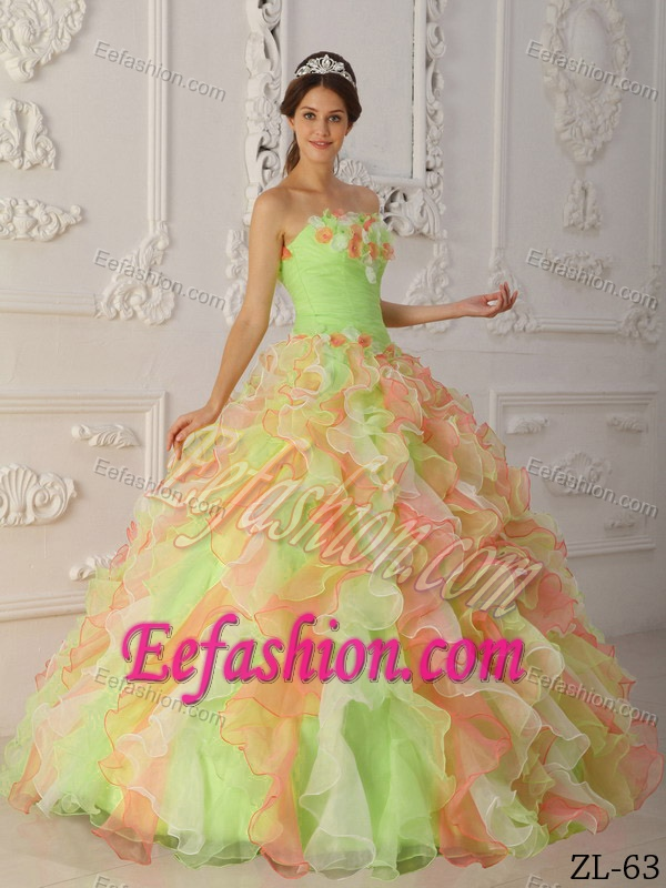 2014 Multicolor Organza Quinceanera Dress and Ruffles