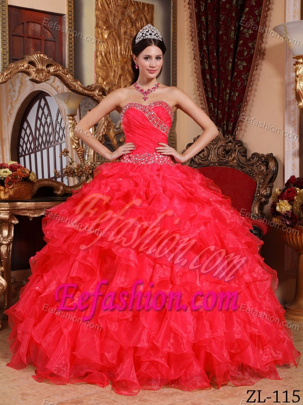 Attractive Red Sweetheart Organza Quinceanera Dress with Beading and Ruffles