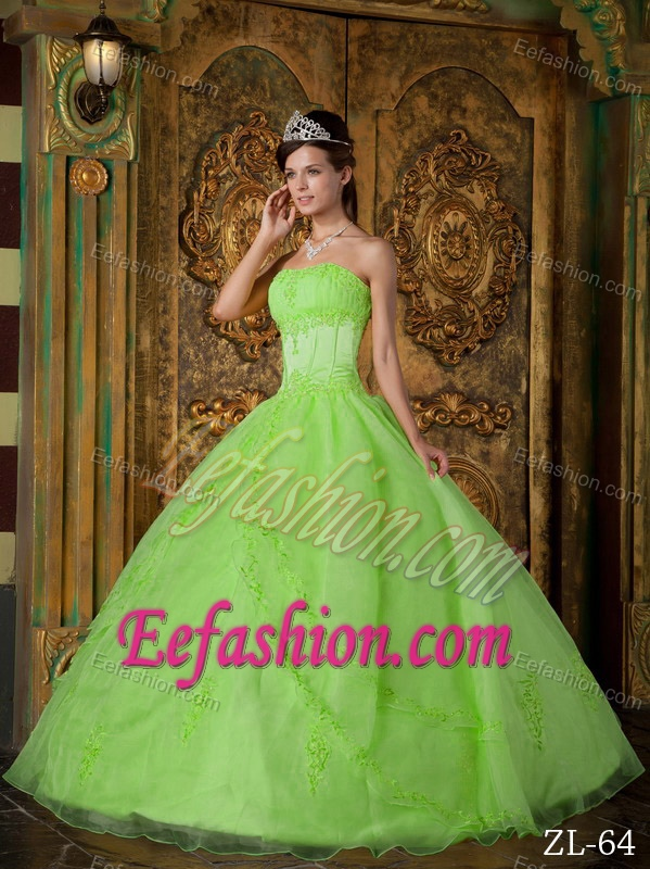 Green Strapless Appliques Decorated Organza Quinceanera Dress for Custom Made