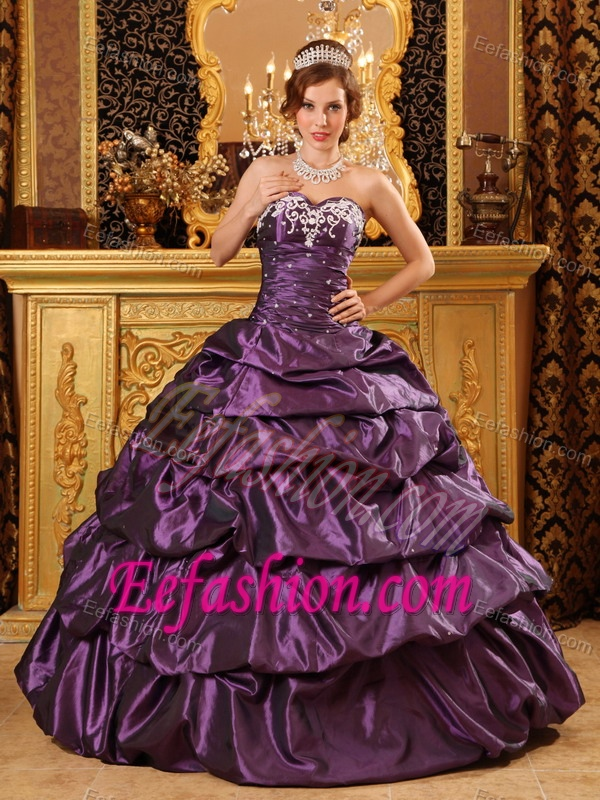 Fashionable Sweetheart Purple 2014 Quinceanera Dress with Appliques