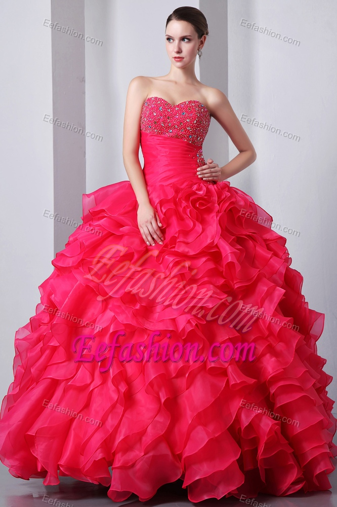 Beautiful Beaded And Ruffled Lace Up Organza Sweet 15 Dress In Coral Red