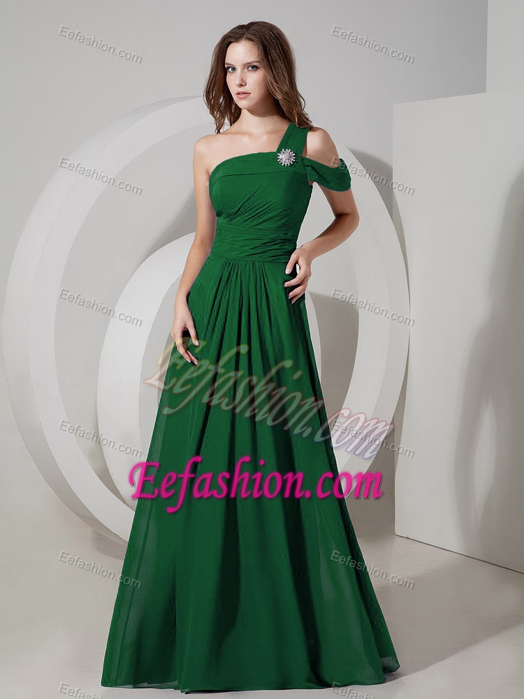Dark Green One Shoulder Prom Dress for Tall Girls with Ruche