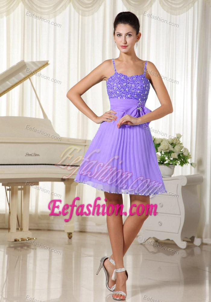 A line purple beaded spaghetti straps prom dresses for for Wedding dress for flat chest