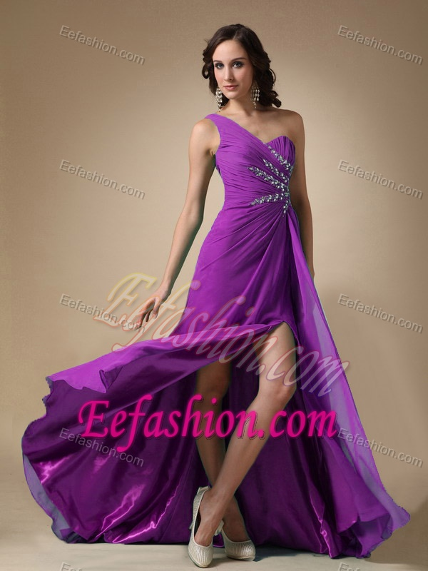 Purple Empire One Shoulder Prom Dress for Tall Girl in Elastic Woven ...