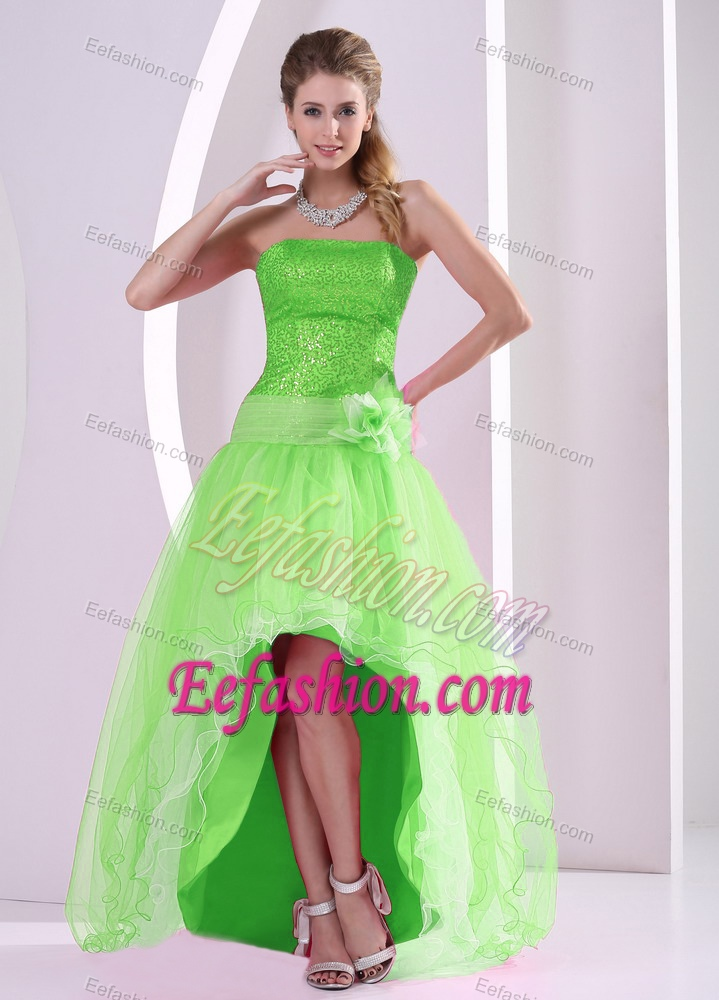 low Spring Green Semi-formal Prom Dresses with Sequins in Organza