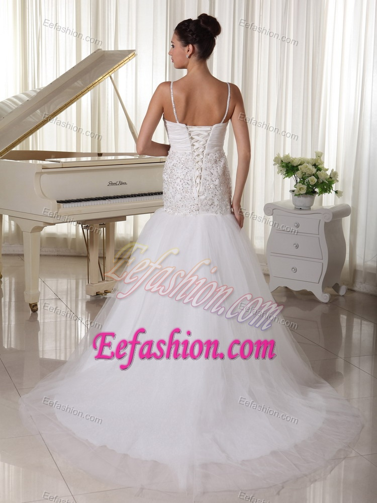 Spaghetti Straps Beaded A Line Cheap Wedding Dresses In And Tulle