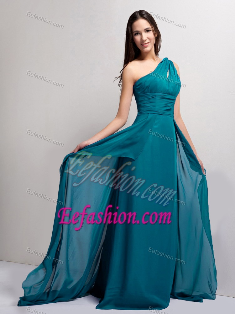 Shoulder Brush Train Teal Ruched Chiffon Prom Evening Dress with ...