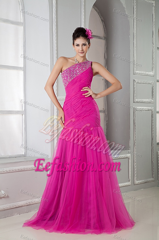 Latest Hot Pink Mermaid One Shoulder Beaded Tulle Prom Pageant Dress ...