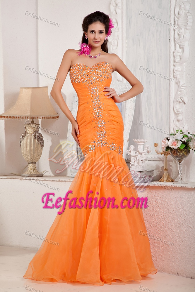 Mermaid sweetheart organza beaded and ruched prom dress for cheap