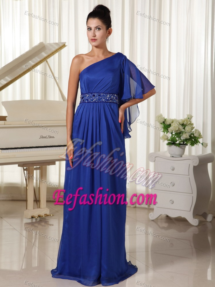 One Shoulder With 1/2-length Sleeve Beaded Formal Graduation Dresses in Royal Blue