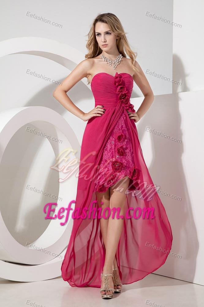 Hot Pink Sweetheart Hi-lo Flowery University Graduation Dress and Lace