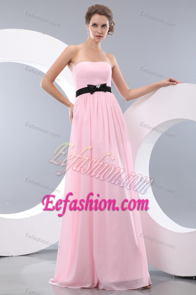 Baby Pink Empire Long Strapless Prom Dress for Graduation with Black ...