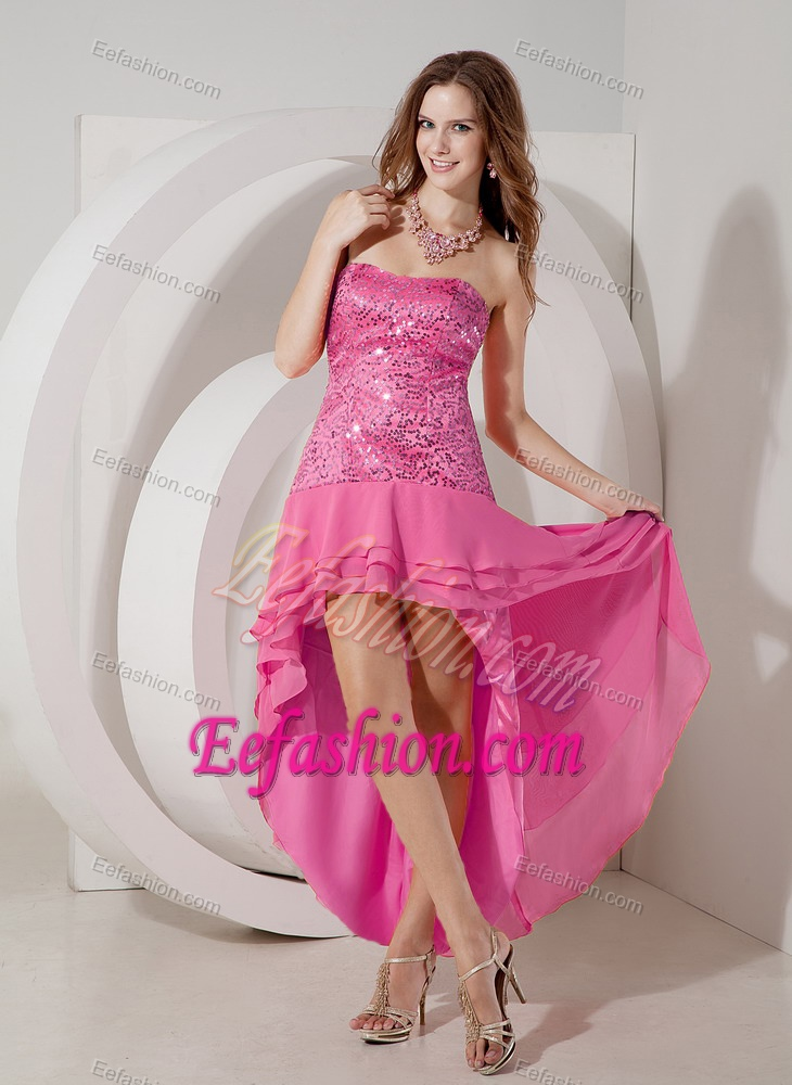 Discount Hot Pink High-low Strapless Chiffon Prom Dress with Sequin ...