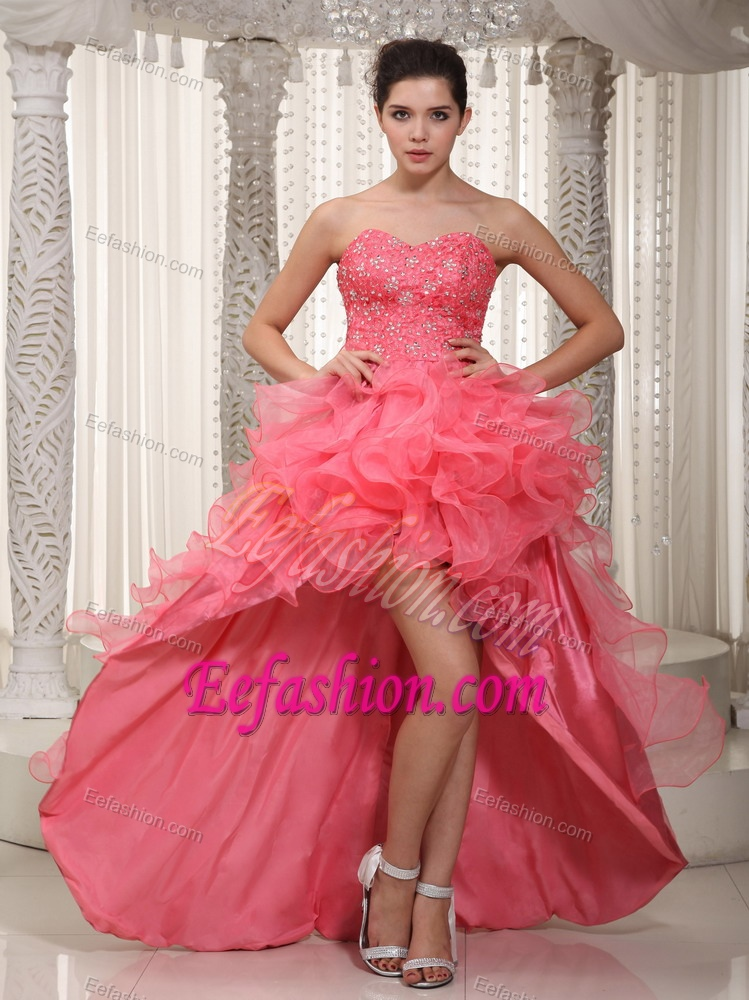 Watermelon Sweetheart High-low Organza Prom Dress with Beading and Ruffles