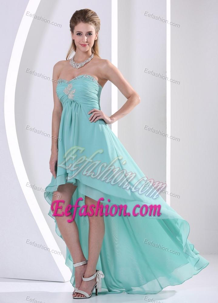Strapless High Low Aqua Blue Layered Chiffon Ruched Prom