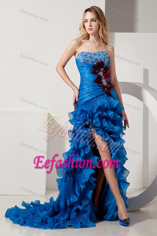 Sweetheart high low royal blue ruched beaded prom party dress with