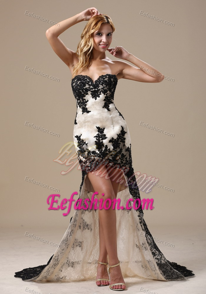 Black and White High-low Holiday Dress for Women in Lace