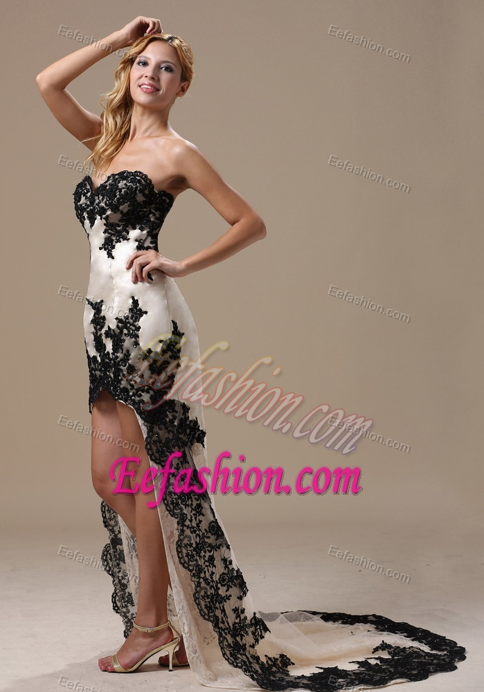 Sweetheart Black And White High Low Holiday Dress For