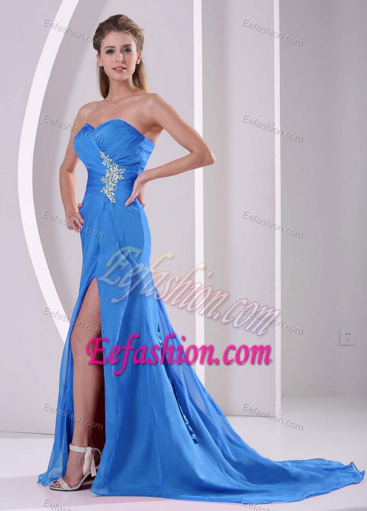High Slit Ladies Holiday Dresses with Appliques and Ruche in Aqua Blue