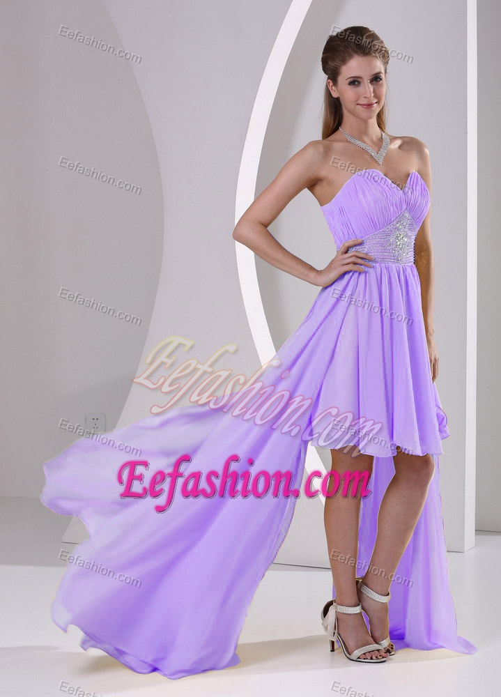 High-low Beaded Lavender Ruched Chiffon Detachable Teenagers Holiday ...