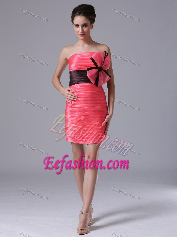 Dresses gt modern coral red and black ruched homecoming dress for