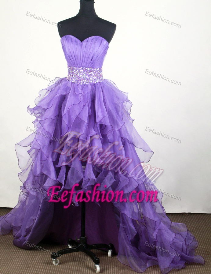 Popular A-line Sweetheart Knee-length High-low Prom Dress with Ruffled Layers