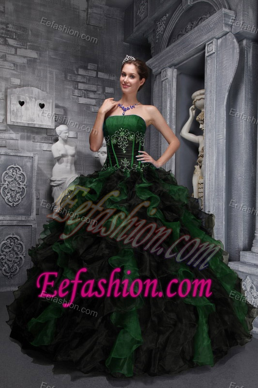 Hunter Green and Black Strapless Appliqued Quinceanera Dresses with Ruffles