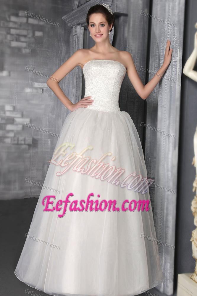 Charming princess strapless long organza wedding reception for Long dress for wedding reception
