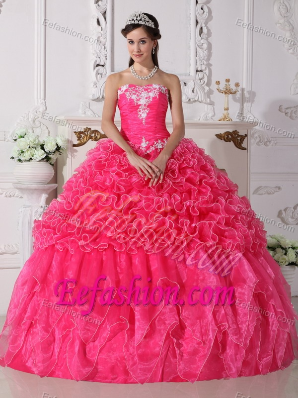Memorable Strapless Hot Pink Embroidered Sweet 15 Dresses
