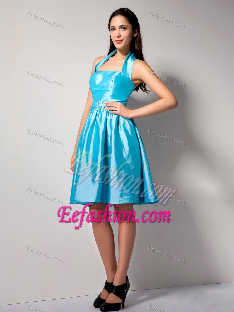 Aqua Blue Halter Top Zipper-up Junior Bridesmaid Dress for Summer
