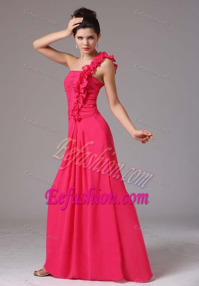One Shoulder Ruches Decorated Bust Junior Bridesmaid Dress in Coral Red