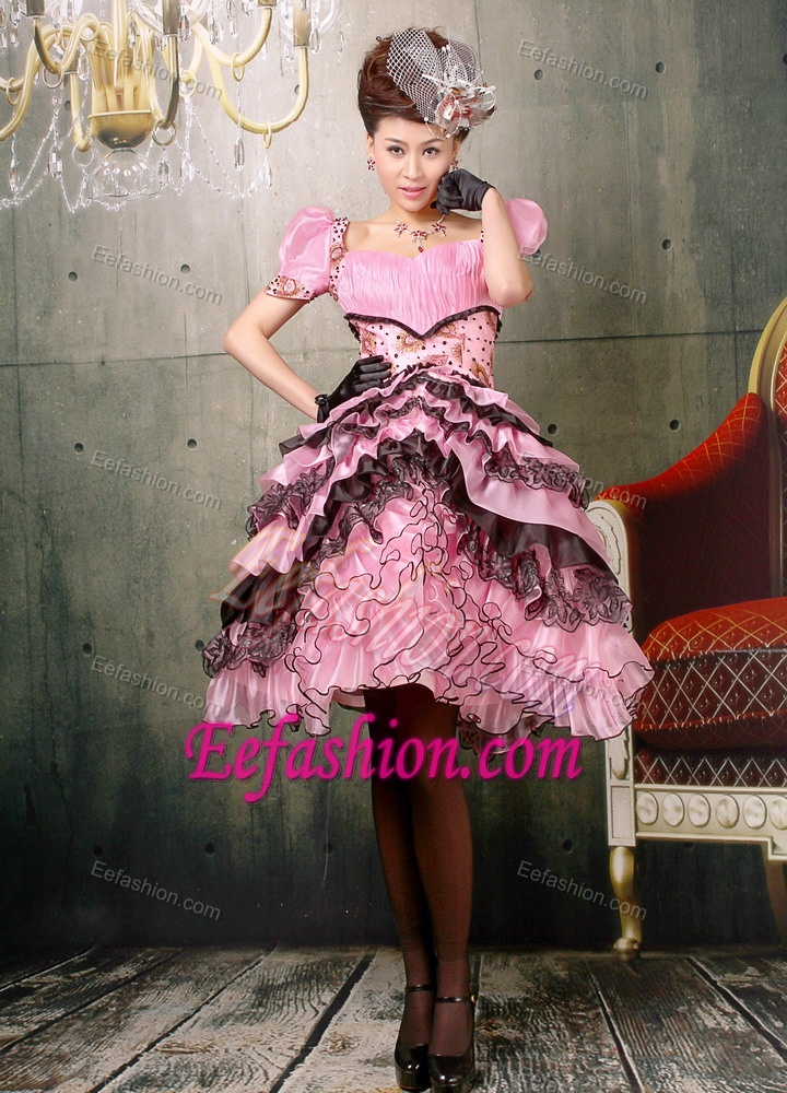 Elegant Square Baby Pink and Black Short Girl Pageant Dresses for ...